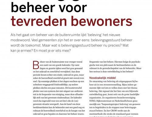 Artikel in Stadswerk Magazine over belevingsgestuurd beheer